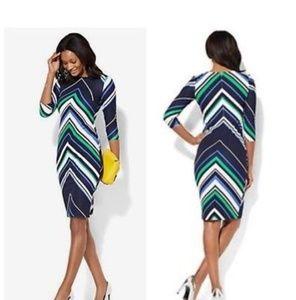 New york & co. Chevron 3/4 sleeve dress